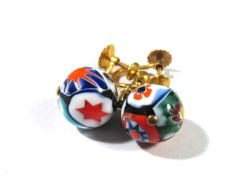 Murano Millefiori EARRINGS Vintage Venetian GLASS Italian Mosaic Screw Back Earrings Vintage Venetian Glass Ready to Wear Jewelry (D158)