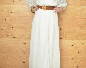 Vintage 70's Dress Boho Maxi Cream Delicate Deail SZ S M