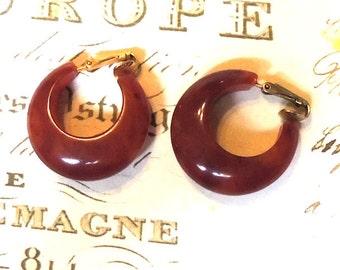 Root Beer Bakelite Earrings Vintage Jewelry