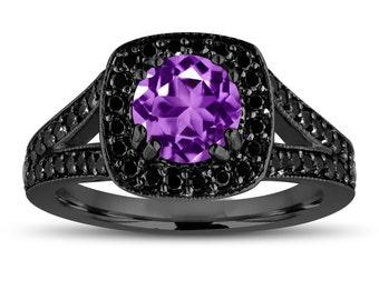 Purple Amethyst Engagement Ring 14K Black Gold Vintage Style 1.56 Carat Halo Pave Handmade Certified