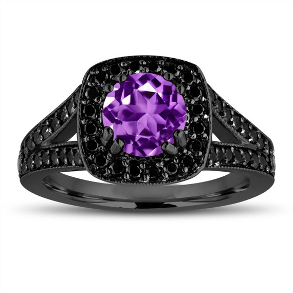 purple amethyst engagement ring 14k black gold vintage style