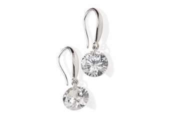 Crystal Dangle Earrings, 925 Sterling Silver