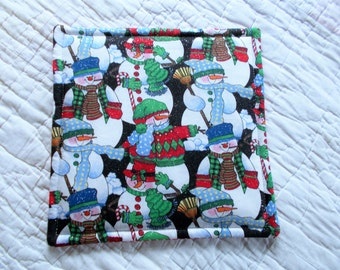 Clearance Sparkly Snowman Hot Pad/mini quilt/pot holder