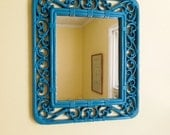 Vintage Mirror, Faux Rattan, Peacock Blue, Rectangular Molded Plastic, Hangs Vertical & Horizontal