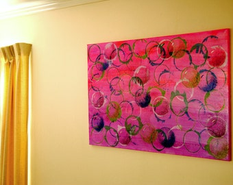 "Bubbles and Circles Galore 24x36 Painting, ""Blowing Bubbles,"" Acrylic/Mixed Medium on Canvas Original - FREE Shipping USA"