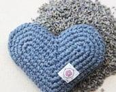 Organic Lavender Heart Sachet in Denim - Hand Crocheted Eco-friendly Gift