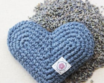 Organic Lavender Heart Sachet in Denim - Hand Crocheted Eco-friendly Gift