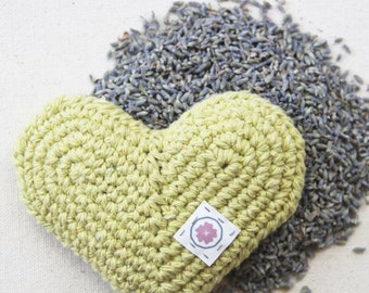 Organic Lavender Heart Sachet in Citrus - Hand Crocheted Eco-friendly Gift