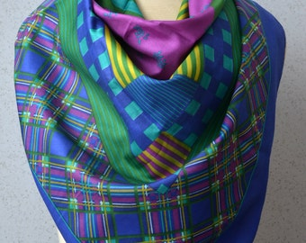Vintage Square Scarf: Plaid, Blue, Magenta, Gold, Green, Stripes, Buffalo Check, Flowers