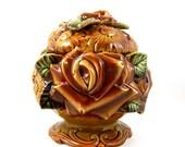 Brown Floral Cookie Jar Ceramic Flower Bouquet Fall Colors Pedestal Biscuit Jar for Autumn