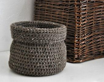 Rustic Brown Basket Catchall Storage Bin Modern Decor Contemporary Design