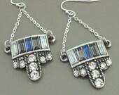 Art Deco Earrings - Silver Earrings - Crystal Earrings - Upcycle Earrings - Chain Earrings - handmade Earrings