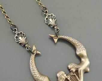 Vintage Necklace - Mermaid Jewelry - Mermaid Necklace - Brass Necklace - Fantasy Jewelry - Chloe's Vintage Jewelry - handmade jewelry