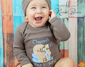 Baby's First Thanksgiving Outfit, Personalized First Thanksgiving Shirt, Brown Bodysuit, Lil Turkey Baby Beanie Hat, My 1st Turkey Day