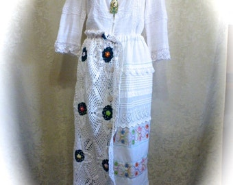 Boho Chic Victorian Skirt Repurposed Crochet and Embroidered Linens and Decorative Stitching