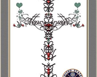 U.S. Military Prayer Cross, Custom First Last Name, Soldier Keep Safe Prayer Cross, With Badge, , U.S.A. First Responders, USA