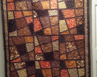 Brown ~ Earth Tones, Mosaic Tiles Quilt