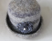 Wool Hat in Gray and Tan with Flower Pin