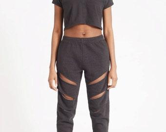 Slash Sweats \ \ \ Black Heather Baggy Sweatpants / / Ripped Pants With Holes