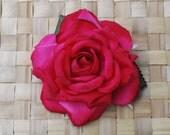 Beautiful silk rose in hot pink hair flower pin up vintage rockabilly style wedding