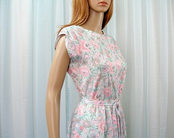 Vintage 1970s Dress Two Piece Pastel Pink Mint Floral Boho Dress / Small