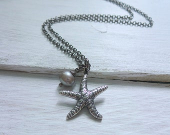 Starfish Pearl Necklace by SBC, AAA Freshwater Pearl, Silver Pearl, Silver Starfish Necklace, Starfish Pearl Necklace, Mermaid Necklace