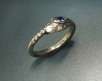 Very Cool and Unique Sterling silver snake ring with diamonds a sapphire