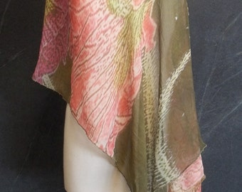 HIBISCUS FLORAL PONCHO, Handmade Silk Poncho, Beaded Cowl Neck Poncho, Silk Chiffon Scarf, Holiday Gift Poncho, One of A Kind Artwear