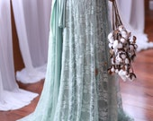 Succulent Sage with Seafoam Lace- Vintage Style Octopus Infinity Wrap Dress- Wedding Gown, Bridesmaids, Maternity, Etc.