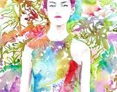Fashion Painting, Original Painting, Original Watercolour, Fashion Illustration, Beautiful Chinese model, flowers Prabal Gurung Dress