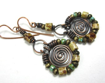 The doorway to life..artisan earrings rustic primitive turquoise gypsy bohemian copper spirals Czech Picasso beads wire wrapped