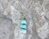Amazonite Necklace, Aqua Blue Necklace, Natural Stone Necklace, Rough Stone Necklace, Rustic Necklace, Handmade Necklace, Statement Necklace