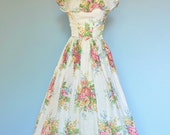Vintage 1940s Dress...YOUNG HOLLYWOOD Cotton Floral Garden Party Dress