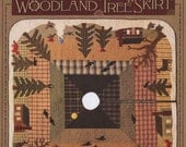 Wool Applique Pattern, Woodland Tree Skirt, Cabin in the Woods, Primitive Decor, Rustic Decor, Timeless Traditions, PATTERN ONLY