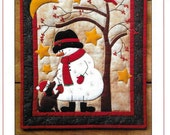 Wool Applique Pattern and Kit, Frosty & Friend, Winter Applique Quilted Wall Hanging, Rachel's of Greenfield, PATTERN AND KIT