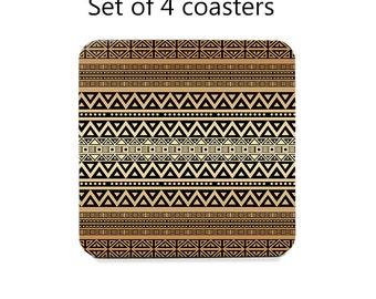 Tribal coaster set, drink coasters, set of 4, mocha brown table coasters, cork back coasters, table decor, hostess gift, home decor