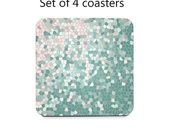 Coaster Set, drink coasters, set of 4, rose quartz pink coasters, mint coasters, housewarming gift, cork back coasters, hostess gift