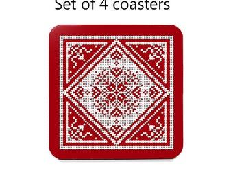 Nordic coaster set, drink coasters, set of 4, Scandinavian coasters, red, snowflake, cork back coasters, housewarming gift, hostess gift
