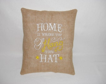 Burlap & Suede Western Embroidered Pillow, Cabin Decor, Lodge Decor, Housewares, Pillow with Words, Decorative Pillow, Accent Pillow