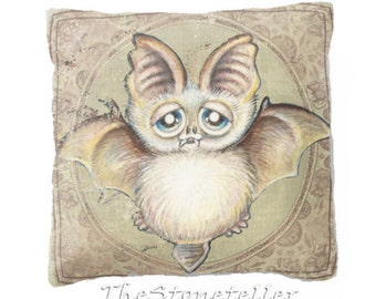 "Pillow .BatTito .PRINT art.. animal art - woodland art - fine art -living room - childrens room - nursery - babies - """" Moon owl"""""