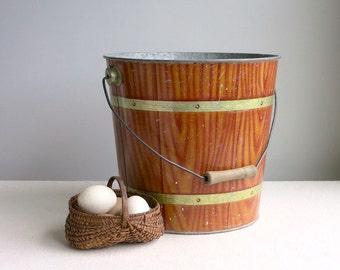Vintage Wood Grain Bucket - Faux Bois Decorated Galvanized Metal Bucket - Industrial Rustic Decor - Garden