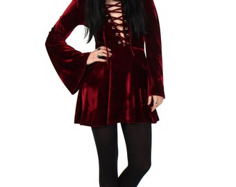 Sabbath Lace Up Velvet Bell Sleeve Mini Dress - More Colours Available