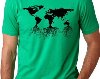 Earth roots cool environmental T-shirt screenprinted