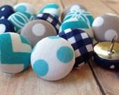 Pushpins,15 Push Pins,Thumbtacks,Thumb Tacks,Aqua,Gray,Grey,Navy Blue,Chevron,Blue Chevron,Decorative Thumbtacks,Pretty Thumbtacks,Cubicle