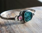 Ocean Jasper, Pink Tourmaline, Sterling Silver Cuff Bracelet, Hinge Bracelet... Kismet...