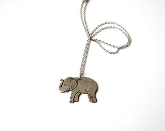 SALE silver elephant necklace