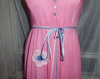 Vintage Tie Waist Warner Night Gown, Floral Applique True Vintage Pink and Blue Vintage Valentines Gift !