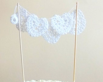 Romantic Wedding cake topper - lace hearts cake topper - white hearts cake topper - engagement party cake topper - wedding decor ~12.6 in
