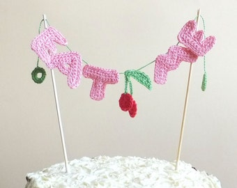 Eat me unique cake topper with cherries - personalized name - crochet letters cake topper - funny birthday cake topper - pink ~ 11.8 inches