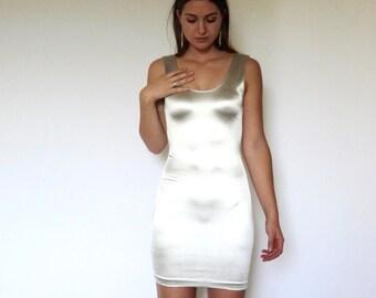 70s Silver Liquid Metal Stretch Bodycon Tank Dress xs s